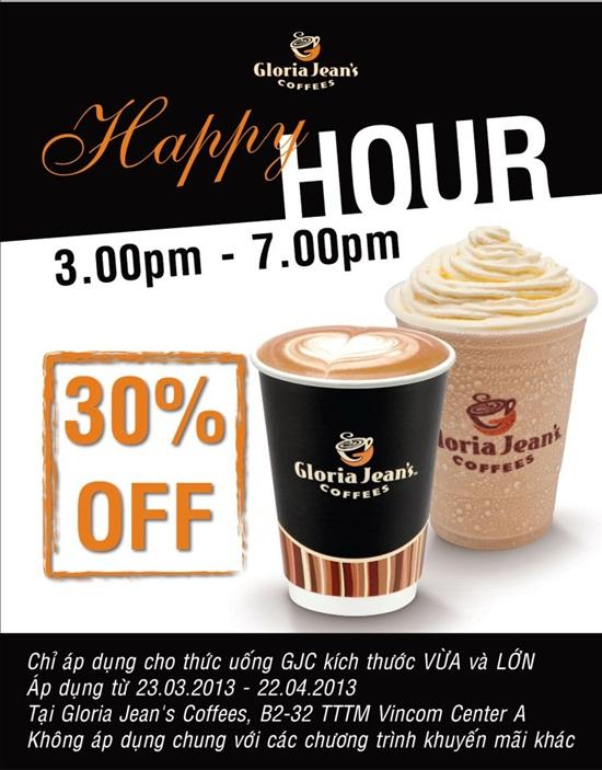Happy Hour - từ 03h đến 07h tối: giảm giá 30% cho thức uống tại Gloria Jean's Coffees chi nhánh Vincom A Đồng Khởi