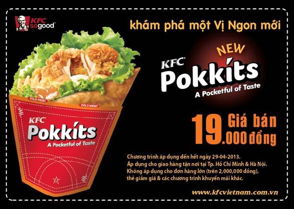 Thưởng thức bánh kẹp Pokkits với giá ưu đãi chỉ 19.000đ tại KFC