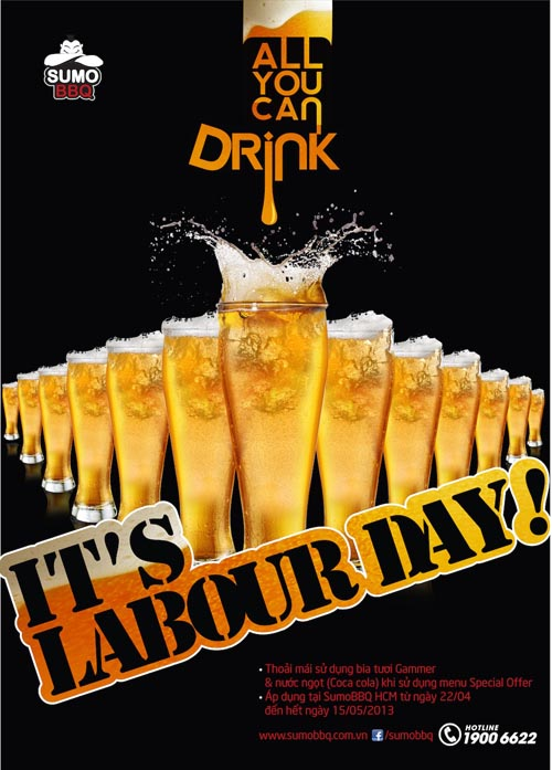 It's Labour Day: Miễn phí bia tươi và nước ngọt tại SumoBBQ