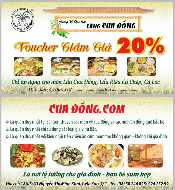 Làng Cua Đồng tặng Voucher giảm giá 20%